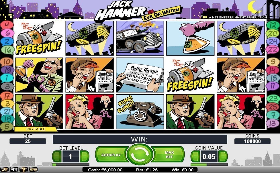 Jack Hammer Vs Evil Dr Wuten Slot Review